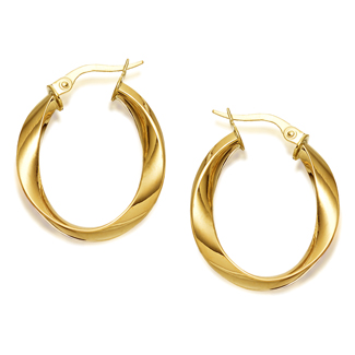 9ct Gold Oval Twisted Creole Earrings - 21mm - G4304