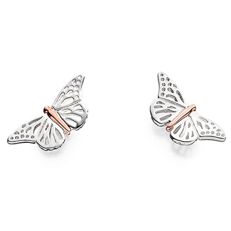Clogau Silver And 9ct Rose Gold Butterfly Earrings - G4458