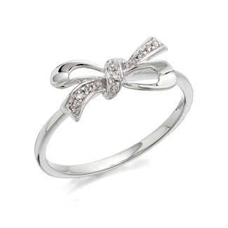 9ct White Gold Diamond Bow Ring - D6858