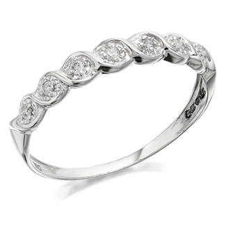9ct White Gold Wavy Diamond Ring - 5pts - D7273