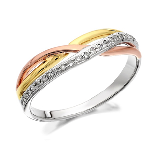 9ct Three Colour Gold Diamond Crossover Ring - 10pts - D8096