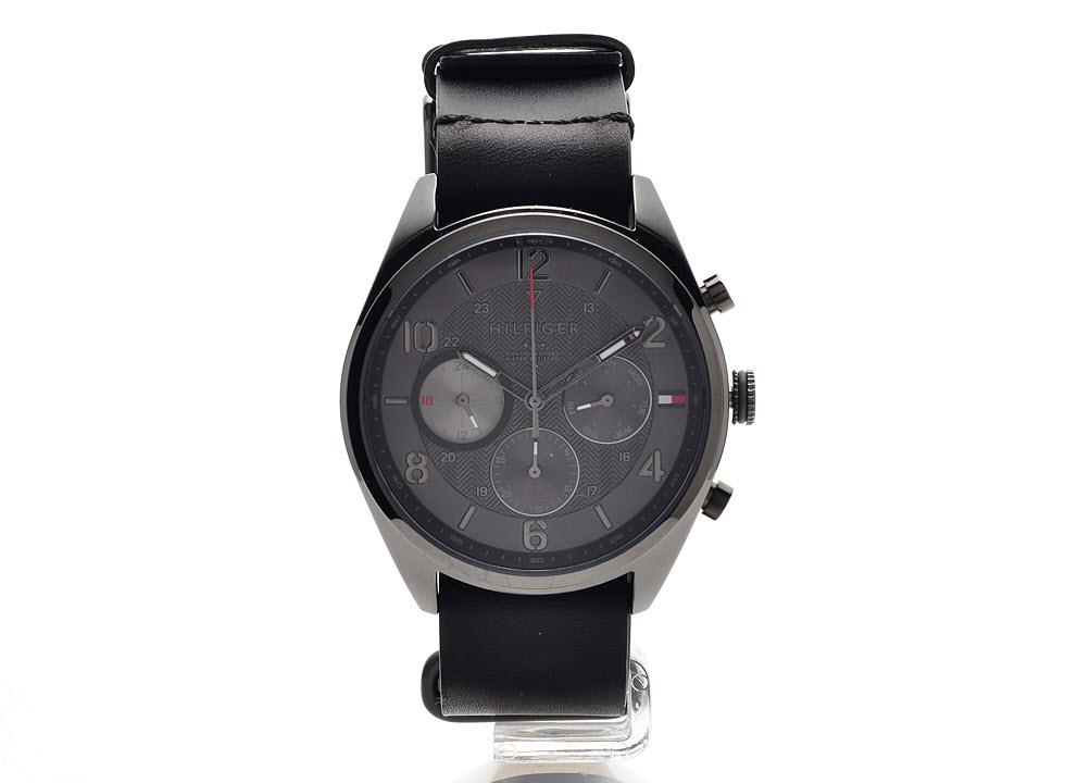 060a46b1 Tommy Hilfiger 1791189 Corbin Chronograph Black Leather Strap Watch ...