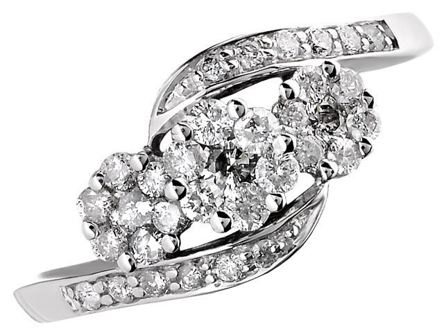 9ct White Gold Diamond Trilogy Crossover Cluster Ring 1