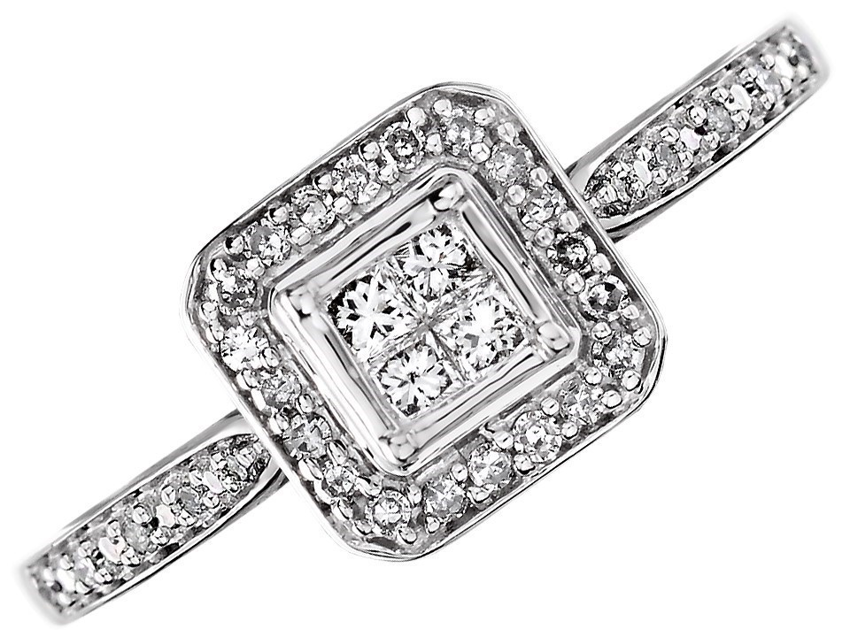 9ct White Gold Princess Cut Diamond Cluster Ring 20pts