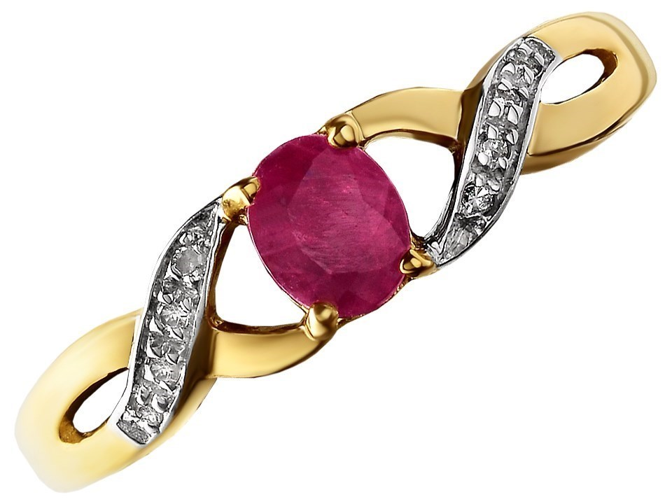 9ct Gold Ruby And Diamond Crossover Ring D7303 F Hinds
