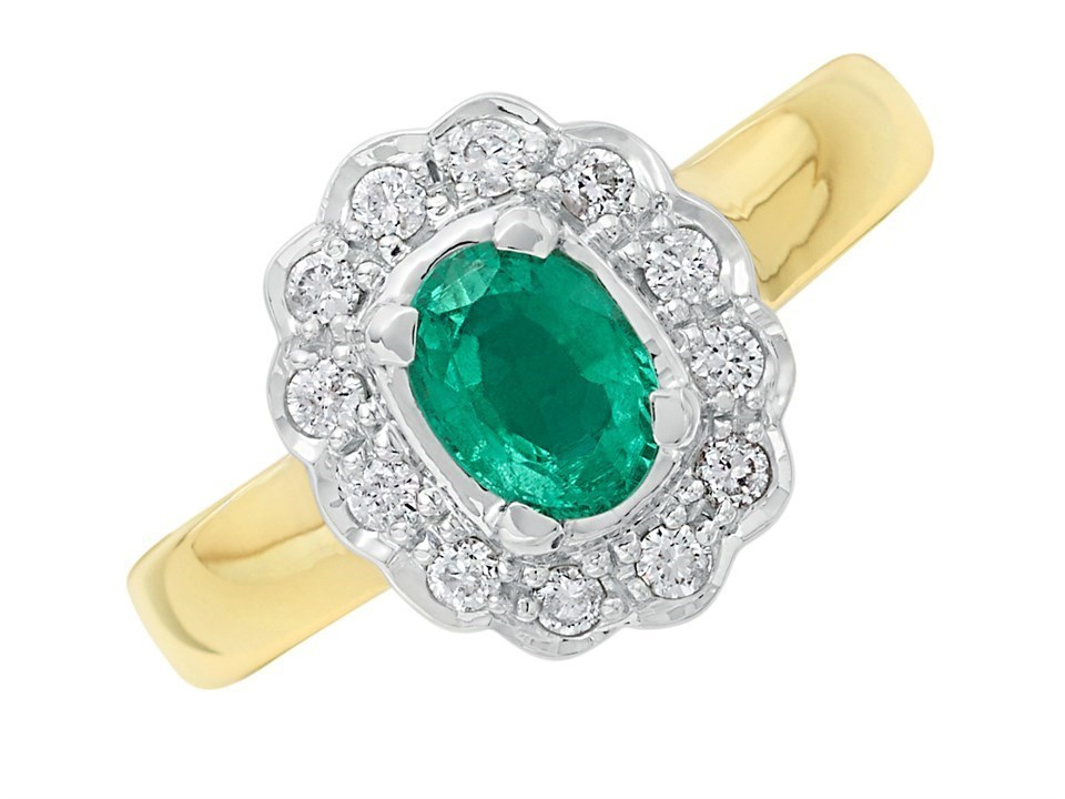 9ct Gold Diamond And Emerald Cluster Ring 1 4ct D7607