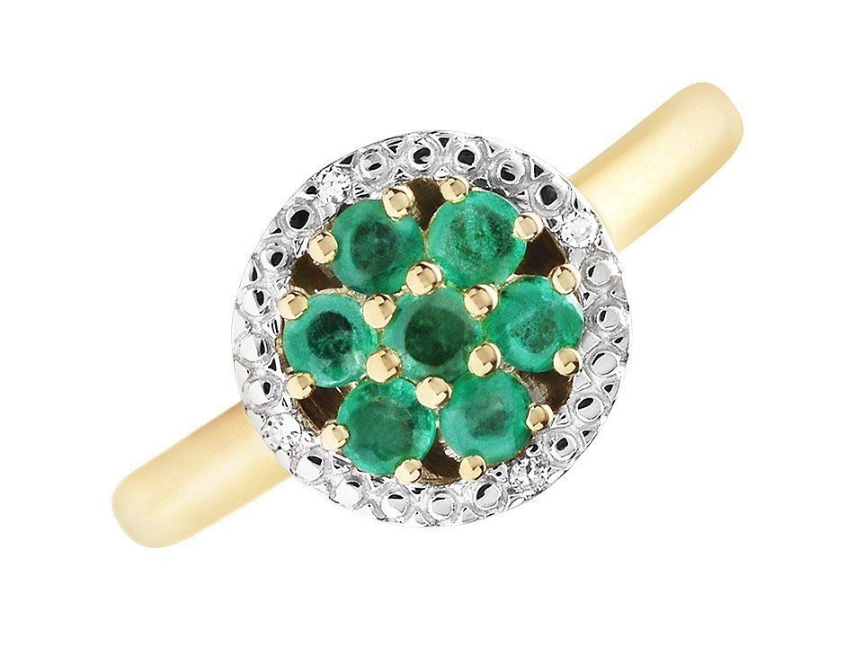 9ct Gold Emerald And Diamond Cluster Ring D7611 F
