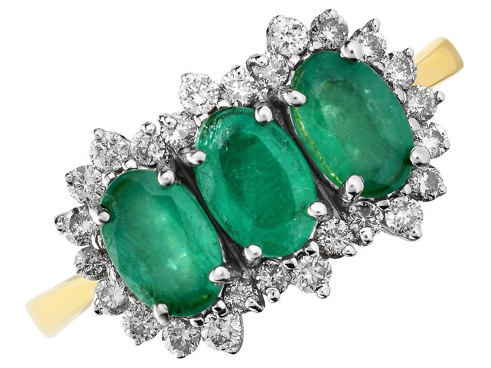 9ct Gold Emerald And Diamond Cluster Ring 1 3ct D7634