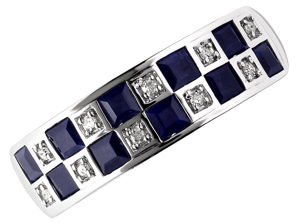 9ct White Gold Sapphire And Diamond Checkerboard Ring