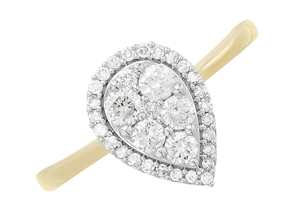 9ct Gold Pear Diamond Halo Cluster Ring 1 2ct D9260 F Hinds