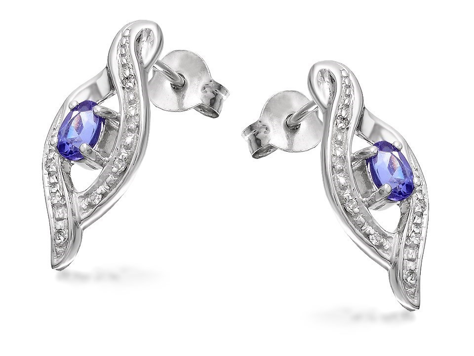 9ct White Gold Tanzanite And Diamond Earrings D9458 F
