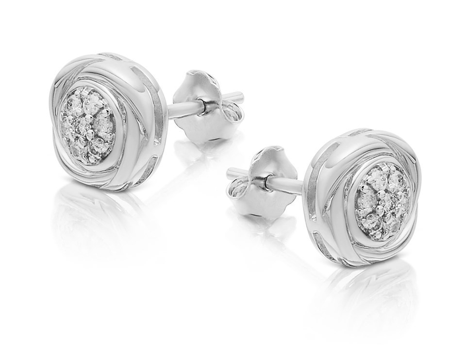 cf653a7c3 Default Image 9ct White Gold Knot Stud Earrings - 15pts per pair -  D9489Alternative Image1