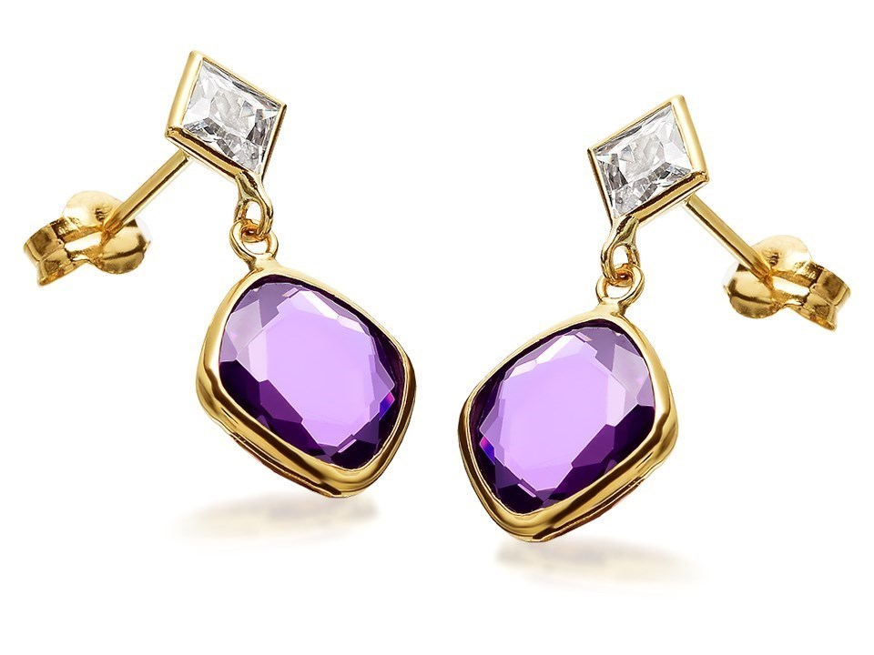 9ct Gold Lilac Cubic Zirconia Drop Earrings kcAgn