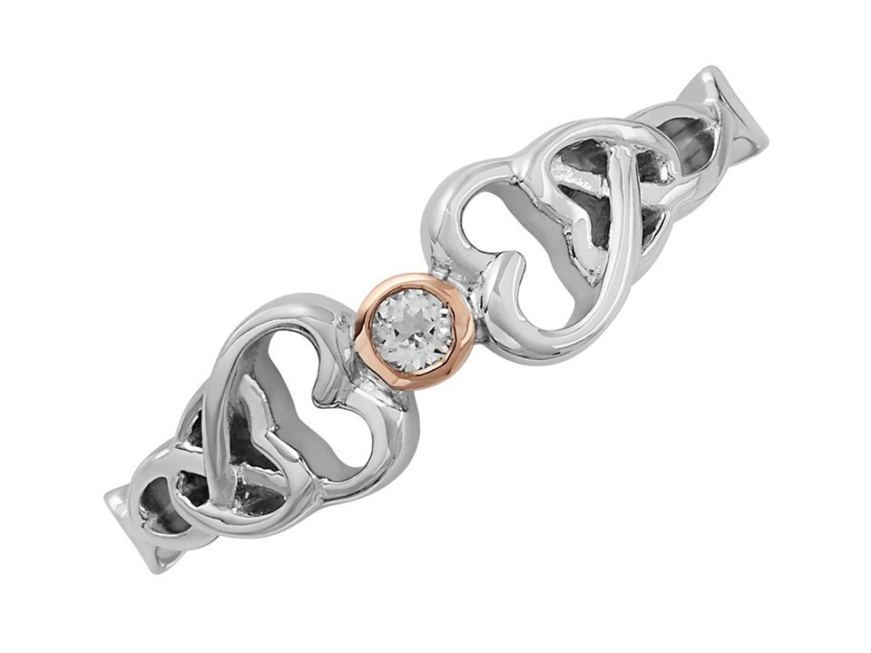 Clogau White Topaz Silver And 9ct Rose Gold Lovespoon Ring