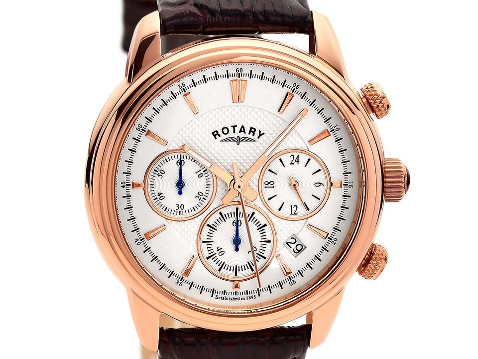 rotary gs02879 06 rose gold plated chronograph brown default image rotary gs02879 06 rose gold plated chronograph brown leather strap watch w1307alternative image1