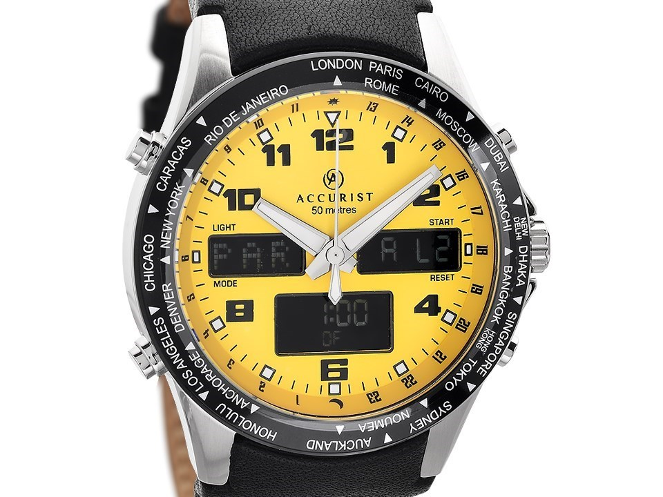 Default Image Accurist 7041 Yellow Dual Display Black Leather Strap Watch