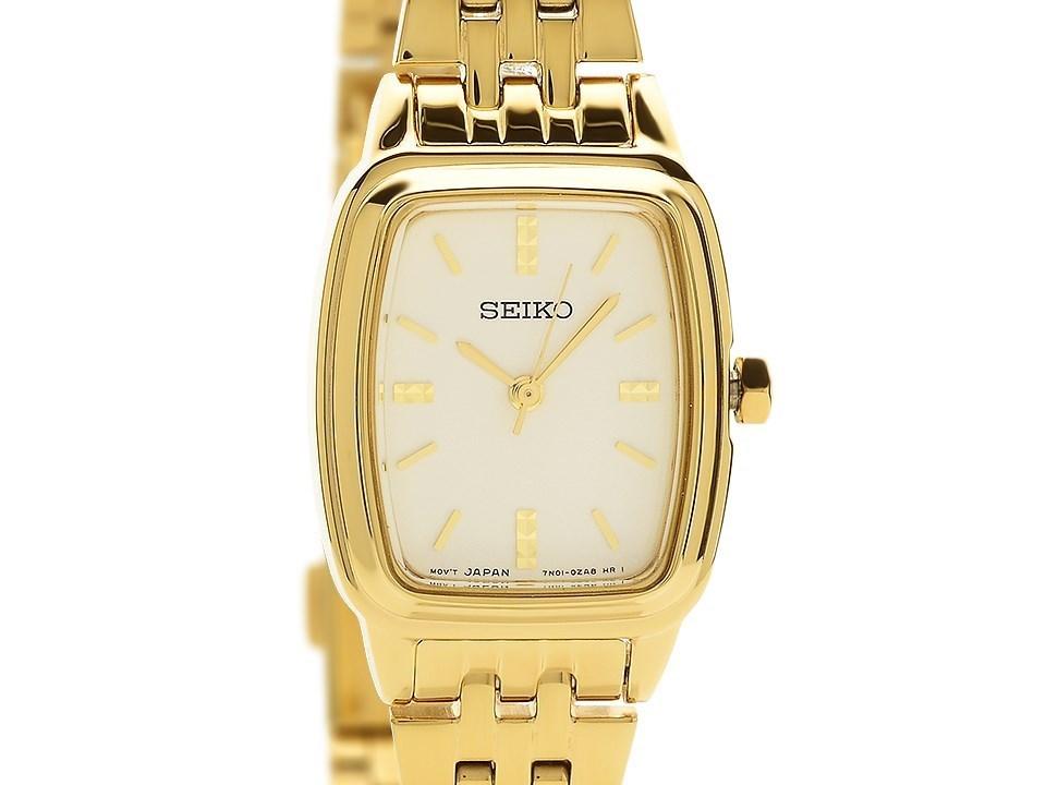 Seiko Srz474p1 Gold Plated Rectangular Case Bracelet Watch