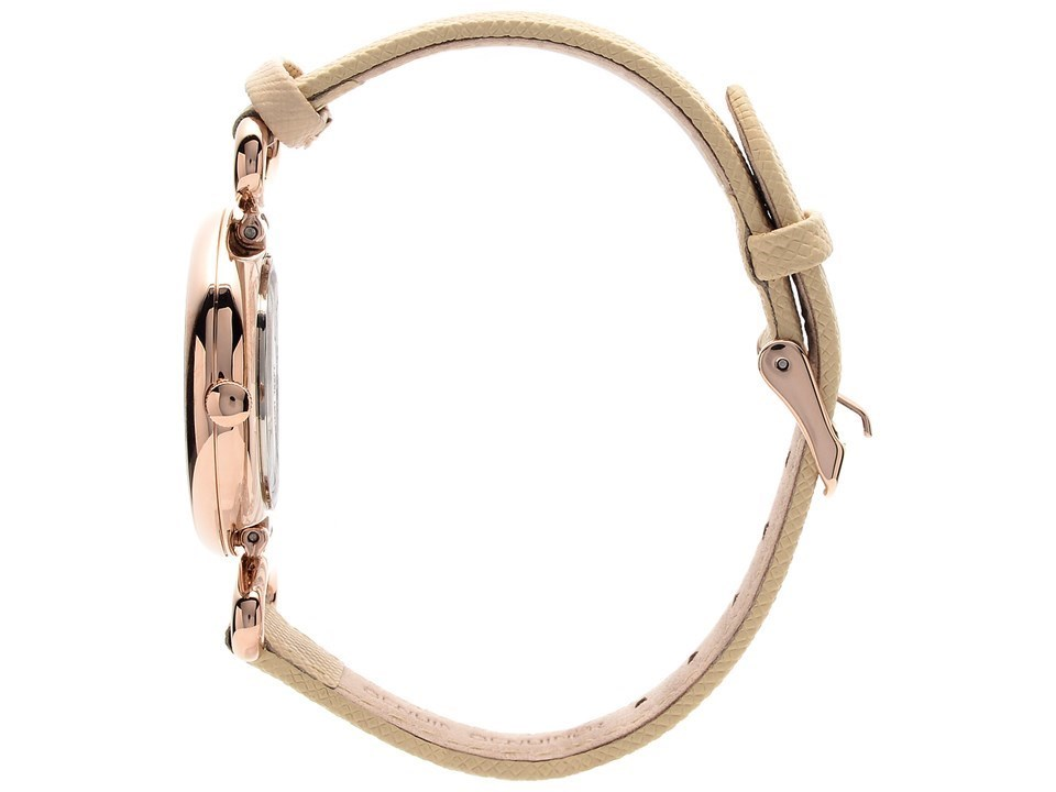Anne Klein AK2192RGLP Rose Gold Plated Cream Leather Strap Watch