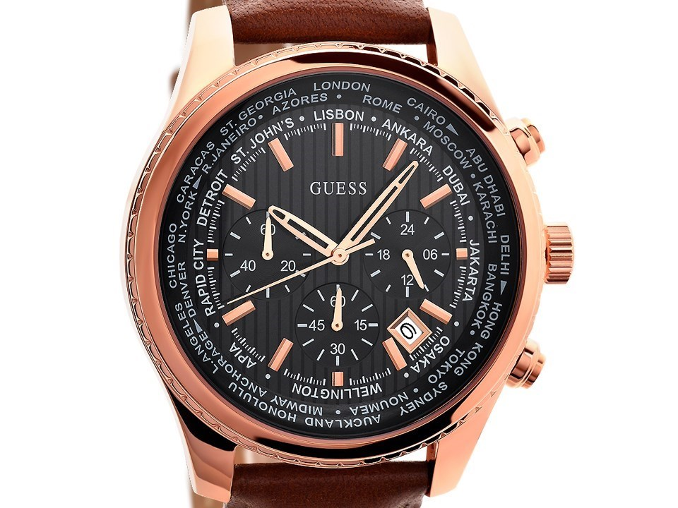Guess W0500G1 Pursuit Rose Gold Plated Brown Leather Strap ... - photo #20