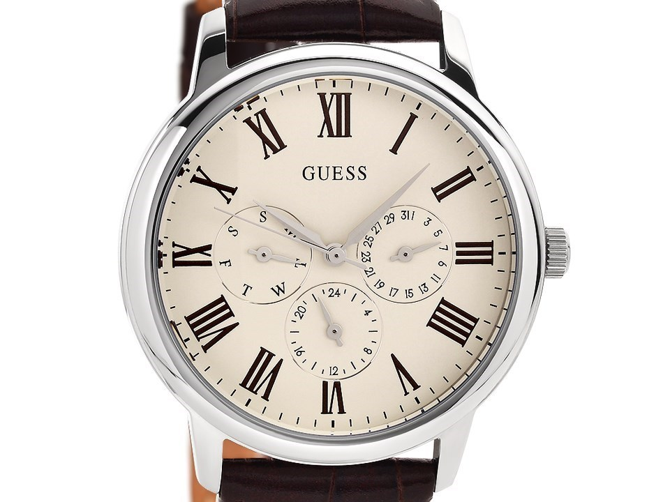 Guess W70016G2 Wafer Stainless Steel Brown Leather Strap ...