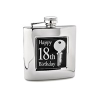 Image of            6oz Stainless Steel 18th Birthday Hip Flask - A3162