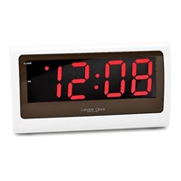 London Clock Large White LCD Alarm Clock  C0395