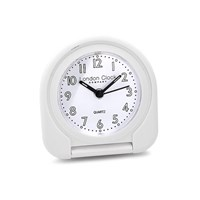 Image of London Clock Company White Flip Top Travel Alarm Clock - C0548