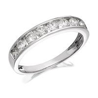 Image of 18ct White Gold 1 Carat Diamond Half Eternity Ring - D0701-N