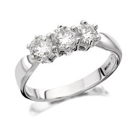 18ct White Gold 1 Carat Diamond Trilogy Ring - D0702-M