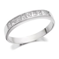 18ct White Gold Princess Cut Diamond Half Eternity Ring - 1/2ct - D0732-L
