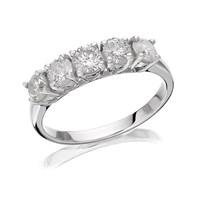 18ct White Gold 1 Carat Five Stone Diamond Ring - D0772-P