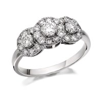 18ct White Gold 1 Carat Canadian Rocks Diamond Trilogy Cluster Ring - Certificated - D0961-N