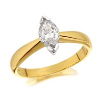 Image of 18ct Gold Marquise Cut Diamond Solitaire Ring - 70pts - Certificated - D1047-N