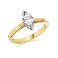 18ct Gold 1 Carat Marquise Cut Diamond Solitaire Ring - Certificated - D1050-N