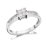 18ct White Gold Princess Cut Diamond Ring - 1/2ct - D1349-N