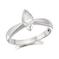 18ct White Gold Marquise Cut Diamond Solitaire Ring - 70pts - Certificated - D2347-O