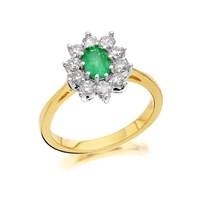 18ct Gold Diamond And Emerald Cluster Ring - 1/2ct - D3602-J