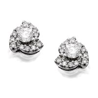 14ct White Gold Cluster Stud Earrings - 1/4ct per pair - D3903