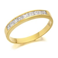 18ct Gold Princess Cut Diamond Half Eternity Ring - 1/2ct - D4250-O