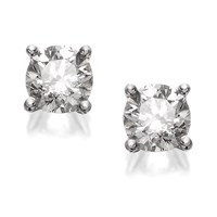 18ct White Gold 1 Carat Diamond Solitaire Earrings - D4511