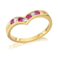 Image of 18ct Gold Diamond And Ruby Wishbone Ring - 15pts - D4874-N