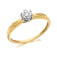 9ct Gold Diamond Solitaire Ring - D5003-L