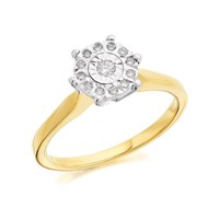 9ct Gold Diamond Ring - 10pts - D5004-J