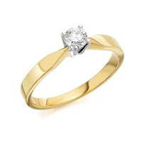 9ct Gold Diamond Solitaire Ring - 1/4ct - AGI Certificated - D5008-O