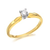 9ct Gold Diamond Solitaire Ring - 15pts - AGI Certificated - D5015-K