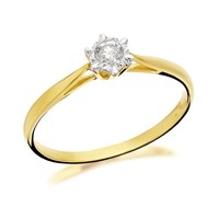 9ct Gold Diamond Solitaire Ring - 10pts - D5021-S