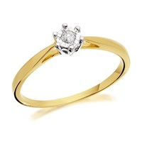 9ct Gold Diamond Solitaire Ring - 5pts - D5031-J