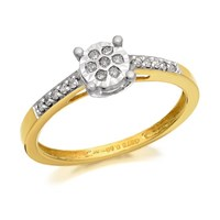 9ct Gold Diamond Ring - 10pts - D5119-L