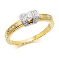 9ct Two Colour Gold Diamond Ring - 1/4ct - D5124-Q