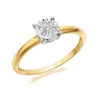 9ct Gold Diamond Cluster Ring - 5pts - D5125-L
